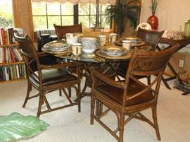 Faux bamboo glass top table and four chairs