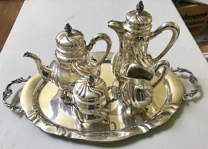 Solid silver (800)  tea/coffee set on tray