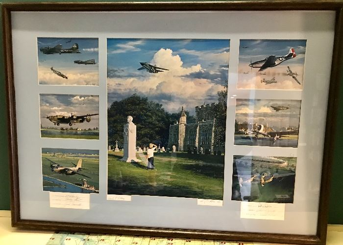 Art work with original signatures of the test pilots of the planes shown