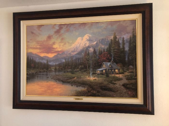 *Signed* Numbered Thomas Kinkade Evening Majesty Painting DNA	44x32in