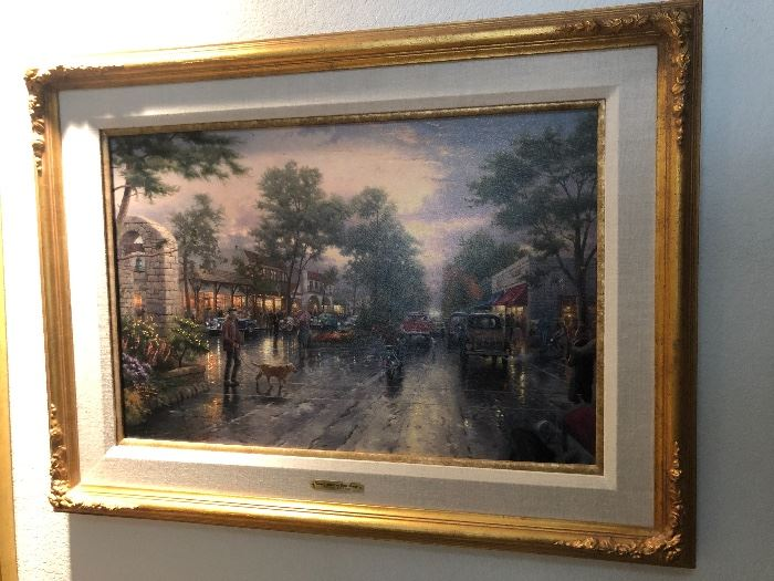 *Signed* Numbered Thomas Kinkade Carmel Sunset on Ocean Avenue Painting DNA	35x27in