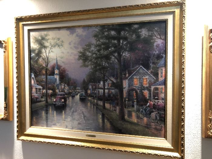 *Signed* Numbered Thomas Kinkade Hometown Morning Painting DNA	49x38in