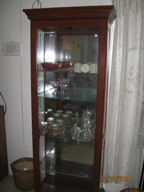 solid wood display case with side opening doors