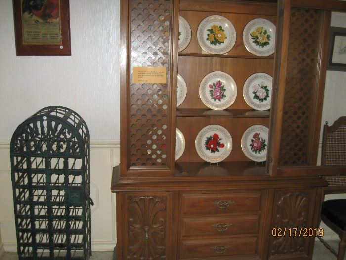 Very nice china cabinet with Gorham Rose plate collection