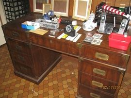 Very solid desk with brass decorations and key