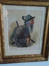 Fine old watercolor by famous artist Peter Kramer Munchen