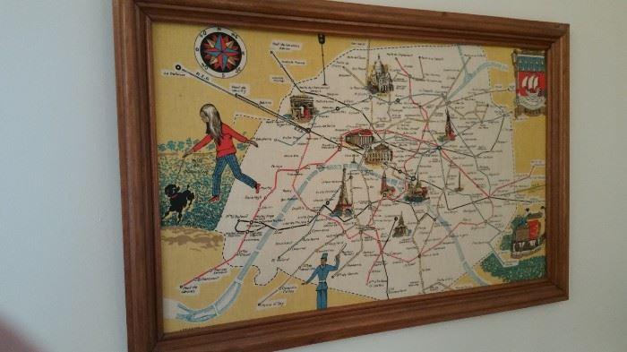 Vintage Cloth Map Of Paris