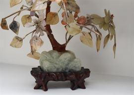 Pair of Semi-Precious Stone Bonsai Trees