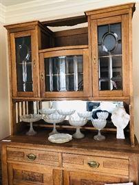 C 1880 arts n crafts solid oak hand carved England antique cabinet leaded glass