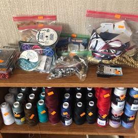 Craft supplies, lots of ribbon