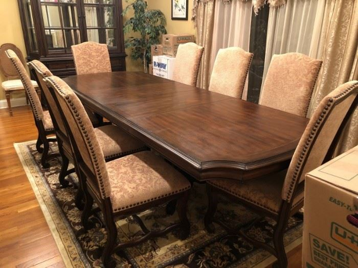 Contemporary Dining Table and 8 Chairs with Breakfront and Server