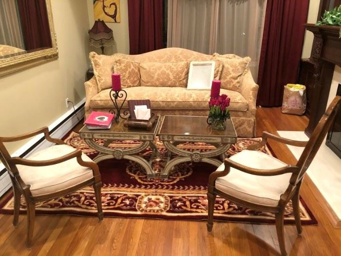 Pair of Occasional Chairs, Sofa, Pair of Glass-topped Tables and Rug