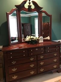 "Matching king size dresser, measures 64.5""Lx21""Dx88""H, with hidden jewelry storage behind mirror...you will love it!"
