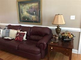 Robinson  & Robinson burgundy leather sofa