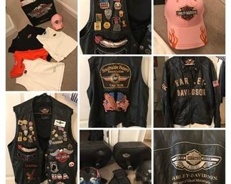 Ladies & men's Harley Davidson items. Leather vest is XL, HD 100th Anniversary 2XL, I believe the ladies shirts are LG-XL, also available HD coffee mug.