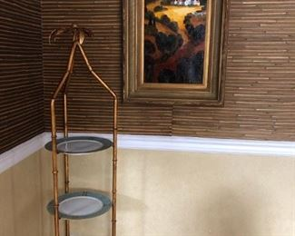 Painting By E. Collins, Faux BambooTiered Stand (Pair)
