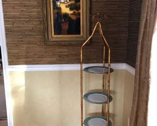 Painting By E. Collins, Faux Bamboo Tiered Stand (Pair)