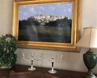 Painting, Pair of Candle Holders, Lamp