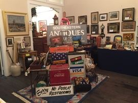Vintage collections including Coke cooler, advertising signs, etc.