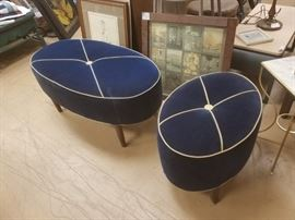 Awesome custom Royal blue oval ottomans two different sizes