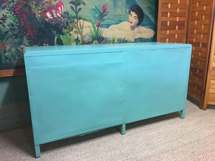 Art Deco metal desk professionally powder coated and not used since then. The actual color is more green than the photo shows.