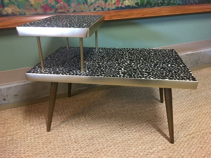Mid-century modern black stone mosaic step table with brass accents. Mint condition and very special!