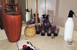 Dansk ice bucket, Purple crystal cut glass set, retro seltzer dispenser, penguin ice bucket