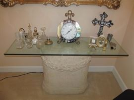 Console table & perfume bottles