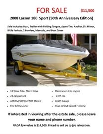 2008 Larson 180 Sport  Boat with Trailer - if interested in viewing after estate sale - please leave your name and number