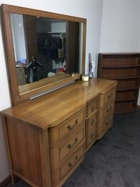 vintage dresser - sturdy constructed solid wood 9 metal handle drawers with large viewing mirror