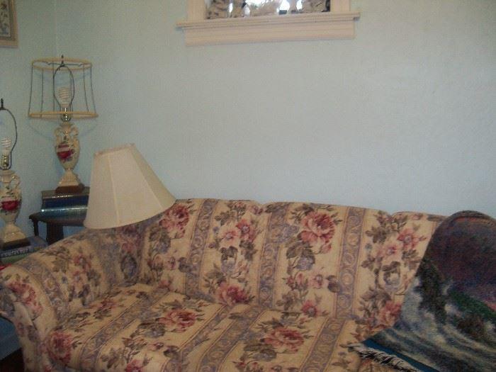 Sofa, pair of lamps