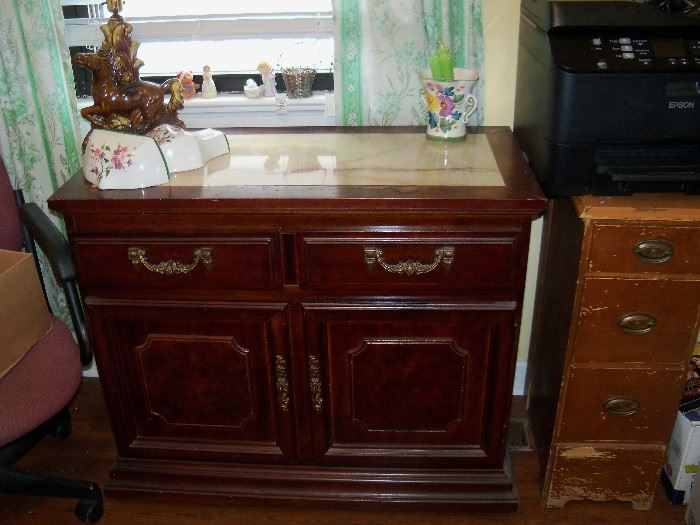 Cabinet, lamp and misc.