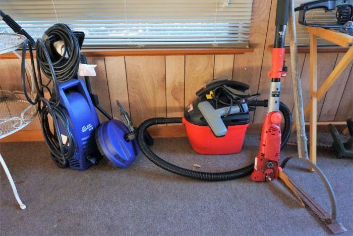 power washer, vacuum