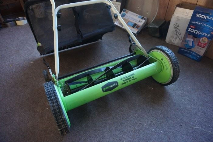 Greenworks push mower with bag