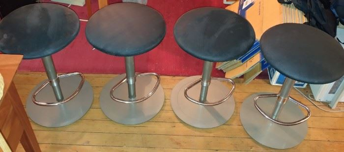 4 KITCHEN BAR STOOLS WITH SUEDE LEATHER (EACH WEIGHT ABOUT 50 LBS.)  ALSO RED RUG