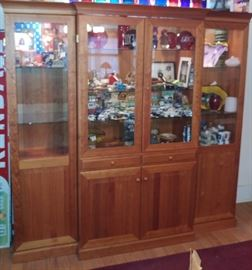 "BEAUTIFUL 8 FEET WIDE ""VITRINE"" Solid Cherry Wood Glass China Cabinets, MADE IN DERMARK.. MATCH TOGETHER WITH DINNER TABLE AND HUNT BOARD.."