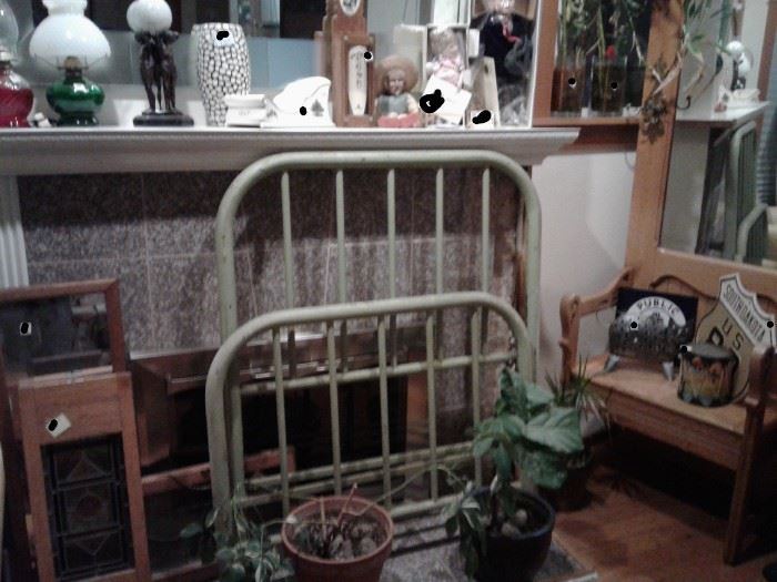 OLD GREEN BED FRAME