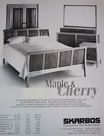 "MAPLE & CHERRY SOLID WOOD ""SARAH"" ARMOIR, KING BED AND 2 NIGHTSTANDS"