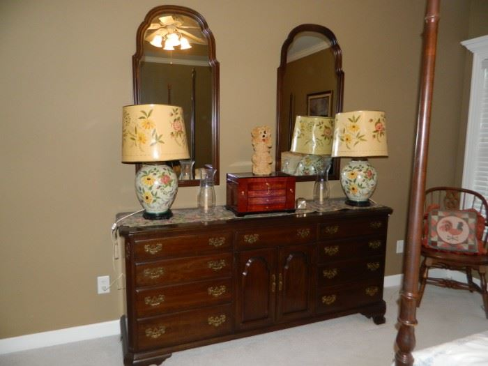 MBR - matching dresser with wall mirrors; 2 matching lamps
