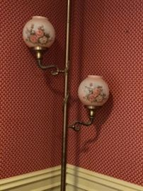 Pole lamp, globes are signed by the artist.
