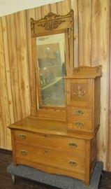 Oak Cheval Dresser w/Hat Box