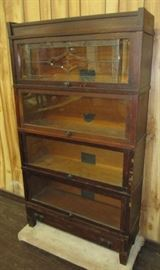 Antique Oak 4 Stack Lawyers Bookcase w/Leaded Glass