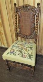 Oak Barley Twist Chair w/Needlepoint Seat