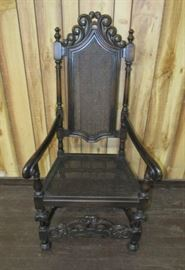 High Back Arm Chair w/Cane Seat & Back