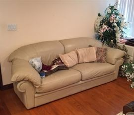 The leather loveseat, with a number of throw pillows.