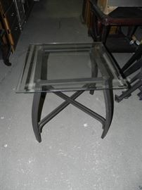 Modern Metal and Glass End Table