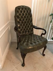 Exceptional Quality, Vintage circa genuine leather high back chair . Willing to negotiate . Beautiful addition piece.