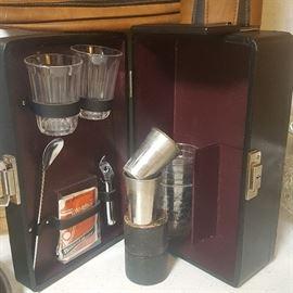 Vintage Portable Cocktail Mix Set