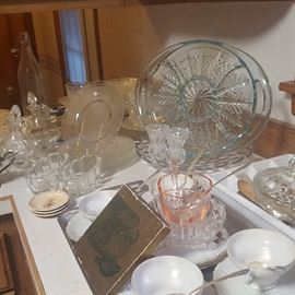 Lots of glass serving ware