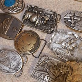 Vintage Buckles, including Gerber Promotional (center) and Winchester